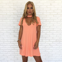 Color Me Coral Choker Shift Dress