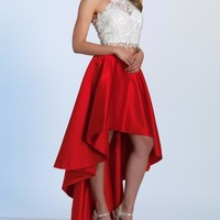 Red Halter Lace Two Pieces Homecoming Dress