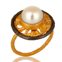 22K Yellow Gold Plated Natural Pearl Ladies Fashion Cocktail Ring