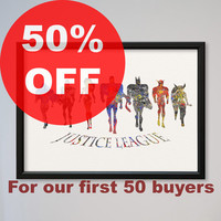 Justice League FRAMED Watercolor Print Giclee DC Comics The Martian Manhunter Green Lantern Wonder Woman Superman Batman The Flash Hawkgirl
