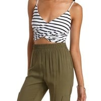 Black/White Striped Wrap Crop Top by Charlotte Russe