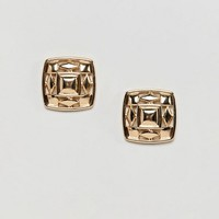 ASOS DESIGN Chunky Cut Out Square Stud Earrings at asos.com