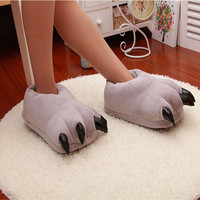 Winter Warm Soft Indoor Floor Slippers Women Men Shoes Paw Funny Animal Soft Soft Plush Shoes High Quality