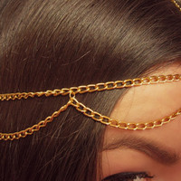 SALE Gold headpiece, egyptian head chain