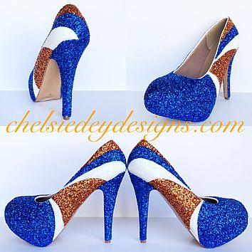 Denver Broncos Glitter High Heels, Orange Blue White Platform Prom Pumps