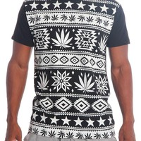 Starry Aztec Leaf Print T-Shirt