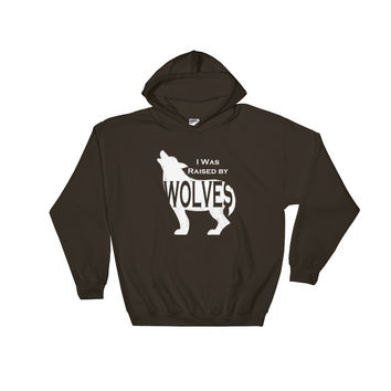 I was Raised by Wolves White Print Hooded Sweatshirt