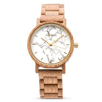 The Chiseled White Oak | Marble + Wooden Watch
