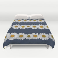 Daisy Chain on Navy Duvet Cover by Tangerine-Tane