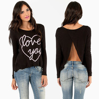 Black Love You  Heart Print Open Back Long Sleeve Top