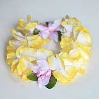 Premium Yellow Hawaiian Crown Lei Headband Paradise Petunia with Orchids Boho