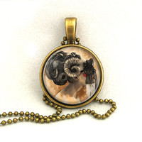 10% SALE Necklace Halloween Aries Ram Jewelry Astrological Signs Pendant with Chain Necklaces Gift