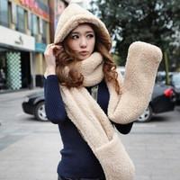 RED TAG SALE !!!! Wool lovers cap with scarf gloves Women fashion winter accessories set