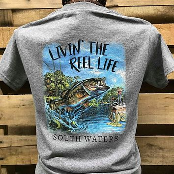 Backwoods South Waters Livin' the Reel Life Fish Fishing Bright Unisex T Shirt
