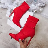 New Sexy Tip Floating Pavilion Elastic Cloth Slender Super High-heeled Shoes