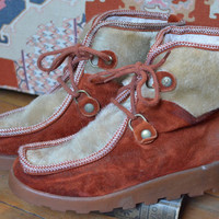 70's Winter Eskimo Style Fur and Leather Bohemian Snow Boots, 8