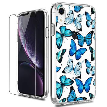 LUHOURI iPhone XR Case with Screen Protector,Clear TPU Bumper with Floral Flower for Girls Women,Shockproof Slim Fit Protective Phone Case for iPhone XR Blue Butterflies Floral Flower Blue Butterflies