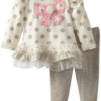 Young Hearts Baby Girls' 2 Piece Polka Dot Butterfly Shirt And Pant