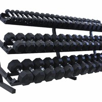 VTX 3-100lb Rubber Coated Dumbbells With Rack