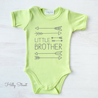 Little Brother Infant Bodysuit. Retro Baby Clothes. Cute Baby Diaper Shirt. Lime Green Baby One Piece. Pregnancy Announcement.