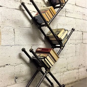 Chicago Modern Industrial Display Bookcase In Brushed Brass Gray Steel Combo