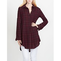 Relaxed Soft Plaid Flannel Shirtdress (CLEARANCE)