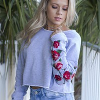 My Own Way Heather Grey Rose Embroidered Crop Top