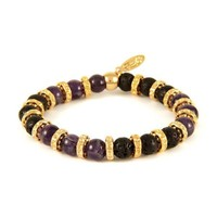 Amethyst Stone and Lava Bead Elastic Bracelet with Gold Donut Rings
