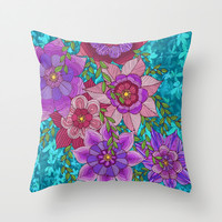 Colorful Zentangle Flowers Throw Pillow by ArtLovePassion
