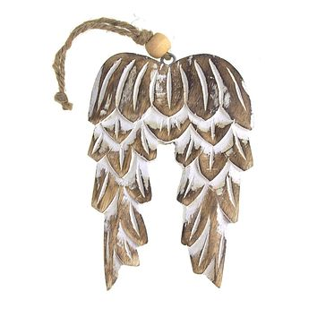 Wooden Angel Wing Christmas Ornament, Natural, 6-Inch
