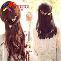 New Arrival Hair Chain Jewelry Fashion Accessories Gold Silver Rose-Gold Metal Leaf Butterfly Hair Clip For Women cadena de pelo
