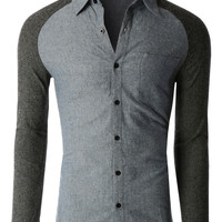 LE3NO Mens Trendy Slim Fit Long Sleeve Button Down Flannel Shirt (CLEARANCE)