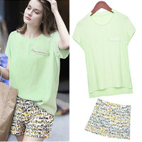 Light Green Cap Sleeve Long Back T-Shirt and Graphic Print Shorts