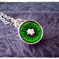 Green Kiwi Necklace - Green Enameled Silver Pewter Kiwi Charm on a Delicate 18 Inch Silver Plated Cable Chain