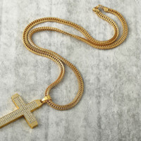 Gift Shiny Jewelry Stylish New Arrival Hip-hop Accessory Cross Rack Pendant Necklace [10529027459]