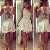 Fashion sexy women white lace Party backless prom cocktail hollow out Sleeveless dresses [7655626694]