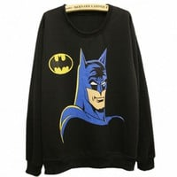 Fashion Women Black Bat Print Sweatshirt Girl Long Sleeve Crewneck Loose Jumper