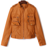Ochre Stand Up Collar Short PU Jacket