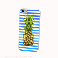 Pineapple Art Green Hard White Cover Case for iPhone 4 4s 5 5s 5c 6 6s Protect Phone Cases