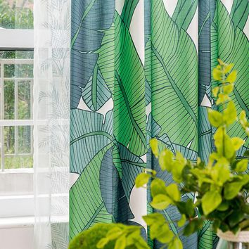 Drapes with Green Banana Leaves A