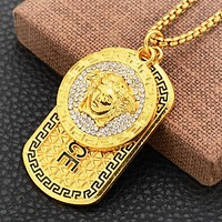 Versace New fashion diamond human head square pendant couple necklace Golden