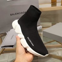 Balenciaga Speed Trainers Black With White Sole Sneakers - Best Deal Online