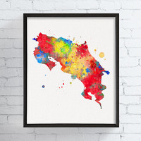 Costa Rica Map, Costa Rica Art, Watercolor Map, Map Poster, Costa Rica Print, Travel Print, Framed Art, Custom Color, Map Painting, Country