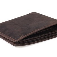 Tiding Men's Dark Brown Crazy Horse Leather Handmade Wallet Card Holder 40436