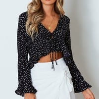 Roll The Dice Crop Navy Polka Dot