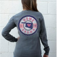 Long Sleeve Home Grown-Oklahoma with Pink women's tshirt