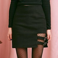 Black Buckled Mini Skirt