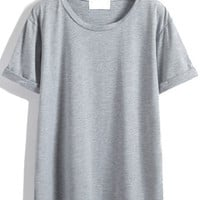 Cuffed Sleeve Loose Grey T-shirt