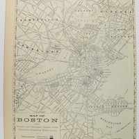 Antique Boston Map 1888 Vintage Map of Boston, Gift for Student, Vintage Boston Decor Gift for Couple, Black and White Art, City Street Map