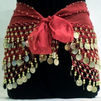 Fantastic Red Belly Dance Skirt Hip Scarf